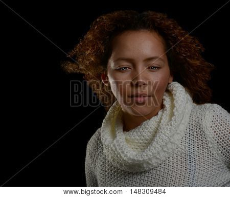 Nice Emotional Portrait of a Beautiful Woman on Black