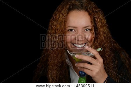 Nice fun Image of a Latino woman with a martini