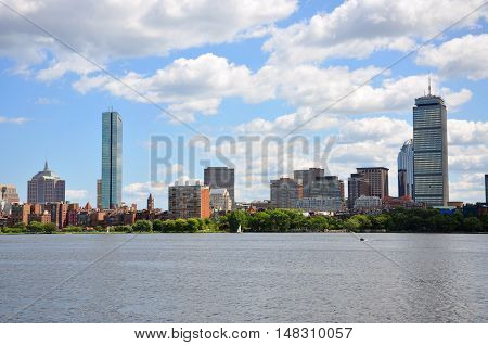 Boston Back Bay Skyline John Hancock Tower and Prudential Center, viewed from Cambridge, Massachusetts, USA