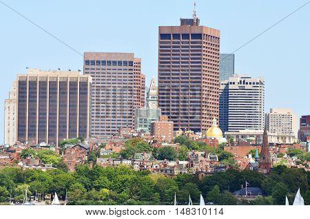 Boston Skyline from Cambridge, Boston, Massachusetts, USA.