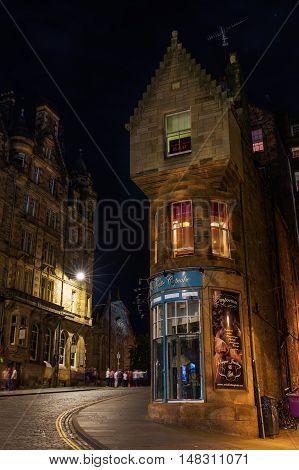Cockburn Street In Edinburgh, Scotland, At Night