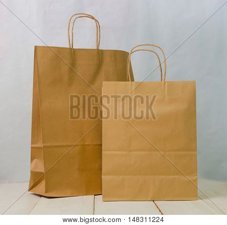 a brown kraft bag on white background