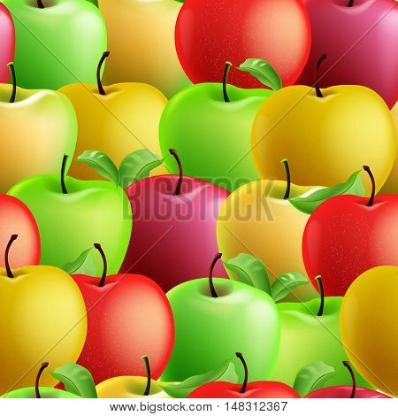 Seamless pattern with apples for harvest fall festival, thanksgiving day. Autumn background.