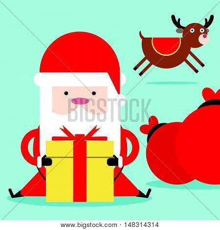 Santa Claus With Christmas Gift Box Collection
