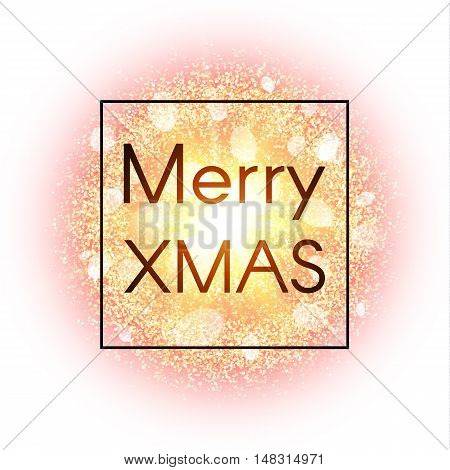 Christmas card on abstract explosion background with gold glittering elements and burst of glowing star. Dust firework light effect with glow. Vector illustration