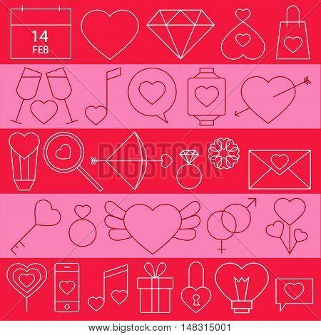 Love Emotion Stroke Icon Flat Minimal Style Set