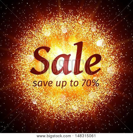 Sale banner on abstract explosion background with gold glittering elements. Burst of glowing star. Dust firework light effect with glow. Sparkles splash powder background. Vector illustration