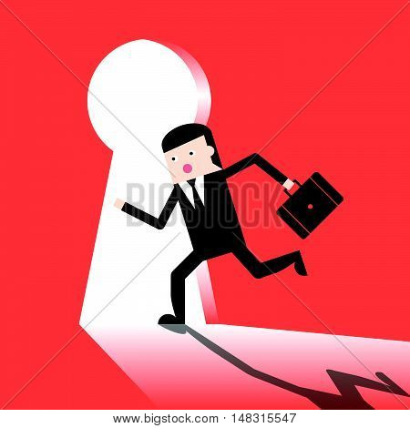 Businessman Run Enter Keyhole