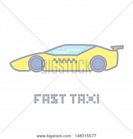 Yellow fast taxi service icon vector illustration