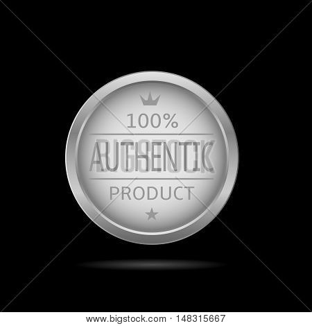 Authentic product label. Silver metal badge, business theme