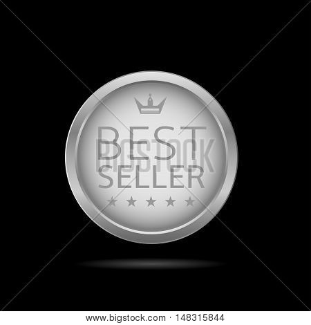 Best seller label. Silver metal badge, business theme