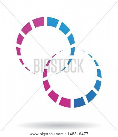 Blue and purple line icon and graphic design element
