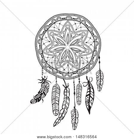 Dreamcatcher with detailed feathers. Sketch dreamcatcher tattoo. Boho style. Native ethnic symbol. Black and white, suitable for coloring book. Bohemian sign. Mandala