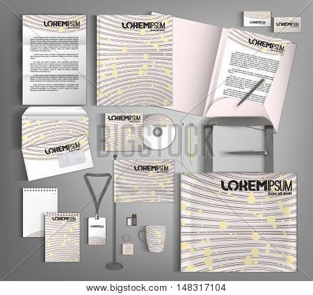 White corporate identity template with pink elements. Vector company style for brandbook and guideline