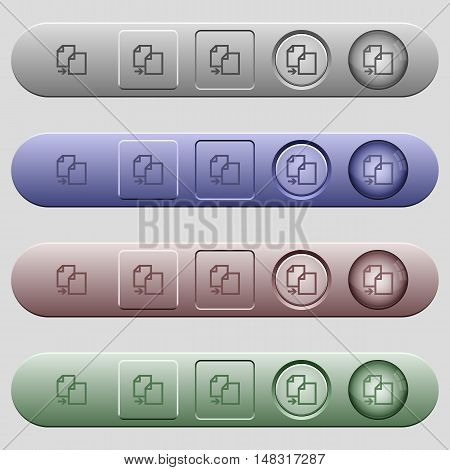Copy item icons on rounded horizontal menu bars in different colors and button styles