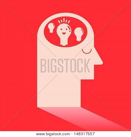 Light Bulb In Brain Like Ideas And Imagination