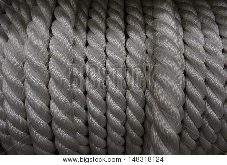 Winding rope in bobbin roll at the hardware shop stock photo