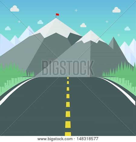 Road to success. Flat design for business financial marketing banking advertising web commercial minimal concept cartoon illustration.