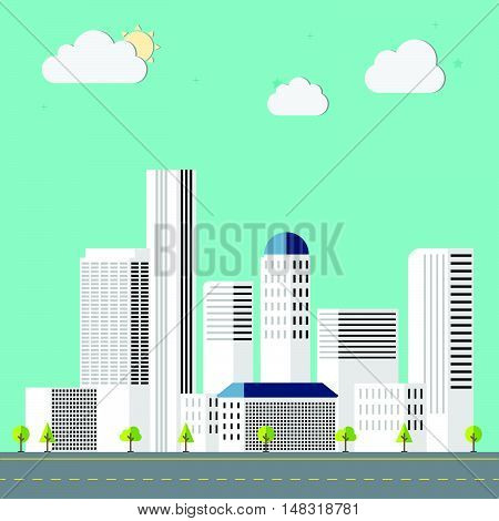 Town flat design downtown landscape illustration. Cityscape sets with various parts of a city: small towns or suburbs and downtown silhouettes.