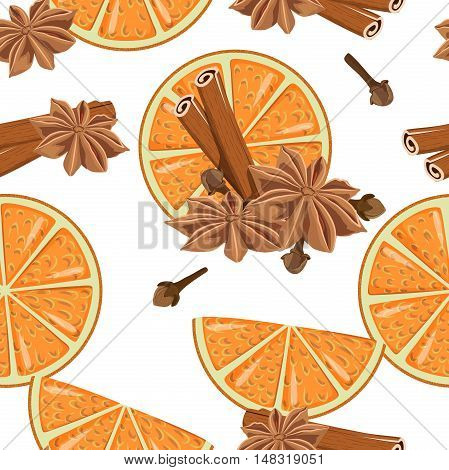 Seamless pattern with spices: cinnamon cloves star anise orange