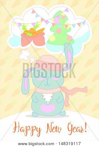 New Years Eve greeting card. Stunning card with cute Rabbit. Childish Merry Christmas card in vector. Rabbit dreams of a Christmas tree and presents. Vector clip art.