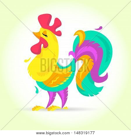 New Year Cute cartoon rooster vector illustration. Rooster, cock farm bird. Holiday card design element. Merry Christmas, happy New Year memory card. Chinese year symbol 2017.clip art.
