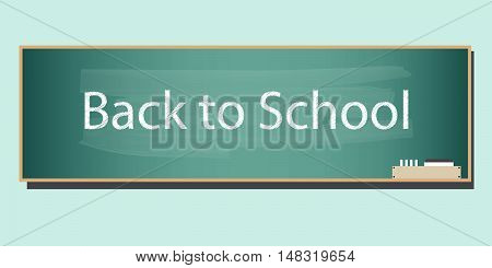 Chalkboard background with back to school text. Flat design for business financial marketing banking advertisement commercial website internet banner background template in minimal concept illustration.