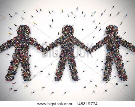 3D Rendering crowd of people that form the symbol of solidarity in the world