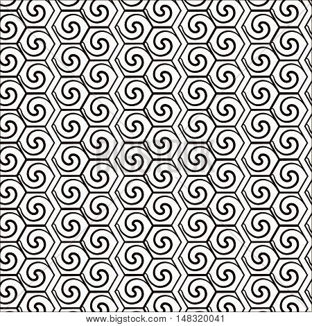 Abstract geometric background with swirls. Abstract geometric background with swirls. Seamless pattern. EPS 10 vector illustration. Contains no opacity and blending modes.