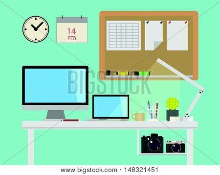 Creative Workspace Element Vector Illustration