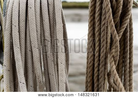 Stacked Shipping Rope In White And Brown