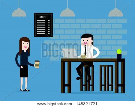 Man work in cafe. Creative workspace element vector illustration. Flat design for business financial marketing banking advertising web concept cartoon illustration.
