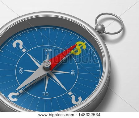 Compass 3D illustration rendering rose direction magnet