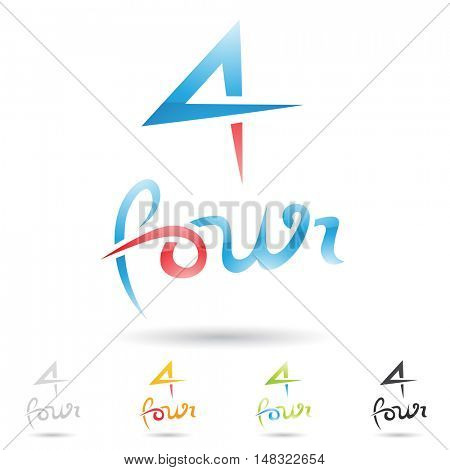 illustration of colorful and abstract icons for no four