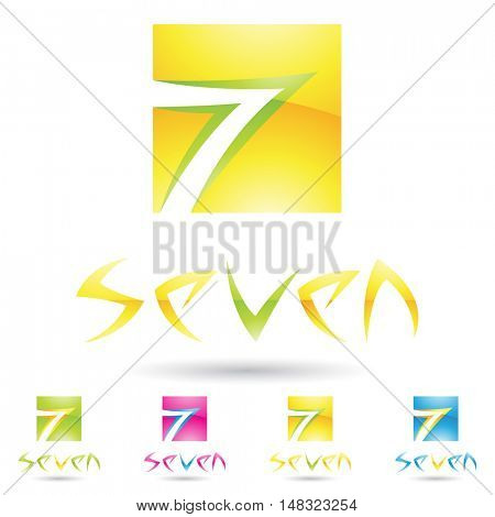 illustration of colorful and abstract icons for no seven