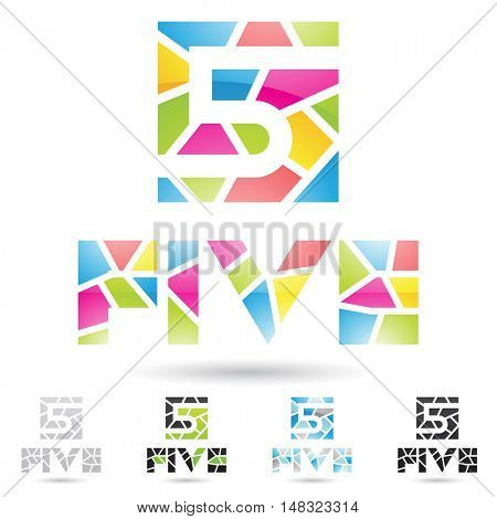 illustration of colorful and abstract icons for no five