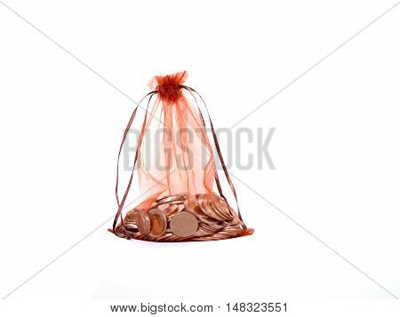 Transparent red bag with coins inside isolated on white background. Gift present or save money concept.