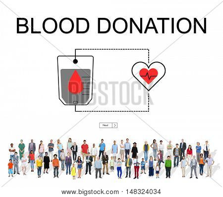 Blood Donation Aid Heart Care Concept