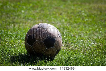 Old and used soccer ball