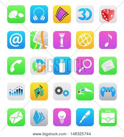 illustration of ios 7 style mobile app icons isolated on a white background