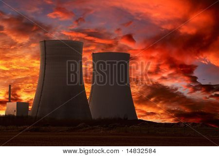 Nuclear Power Plant With An Intense Red Sky