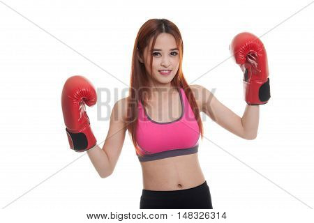 Beautiful Healthy Asian Girl With Red Boxing Glove.