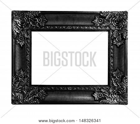 Old antique black frame isolated on white background