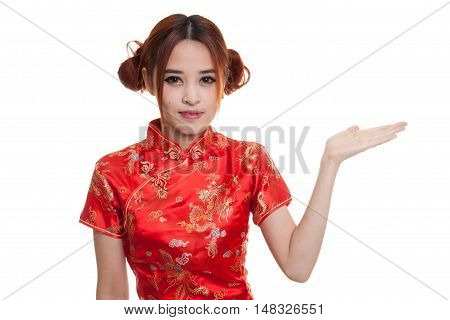 Asian Girl In Chinese Cheongsam Dress Present Blank Space With Her Hand.