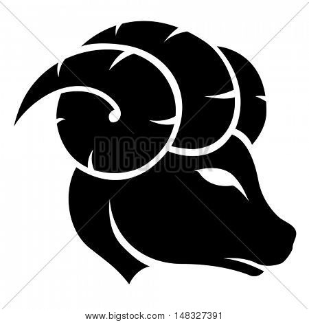 Illustration of Black Aries Zodiac Star Sign isolated on a white background
