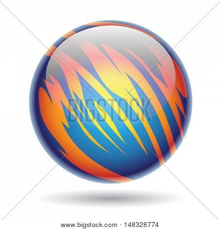 Illustration of Blue and Yellow Glossy Planet Sphere isolated on a white background