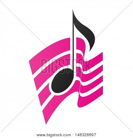 Illustration of Magenta Musical Note isolated on a white background