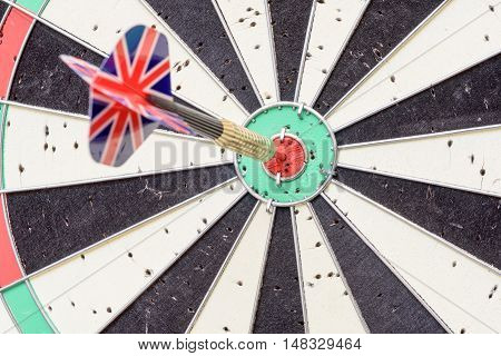 Union Jack Flag Dart Stuck In A Bullseye Board