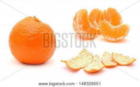 Ornge mandarine isolated in the white background.