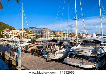Luxury waterfront homes for rent and sale, lively bars, wide range of sports, leisure and cultural activities in Porto Montenegro in Kotor Bay.